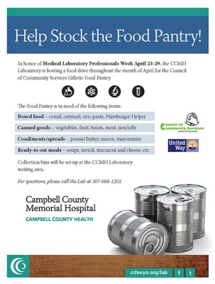 CCMH Lab hosts drive for local food pantry in April